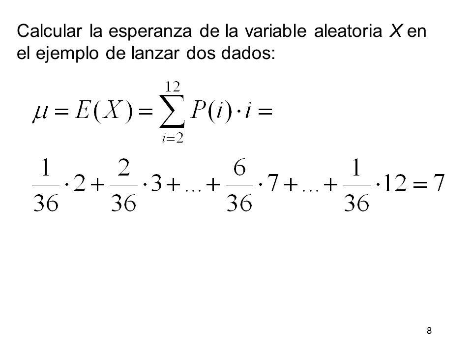 8 Calcular la esperanza de la variable aleatoria X en el ejemplo de lanzar dos dados: