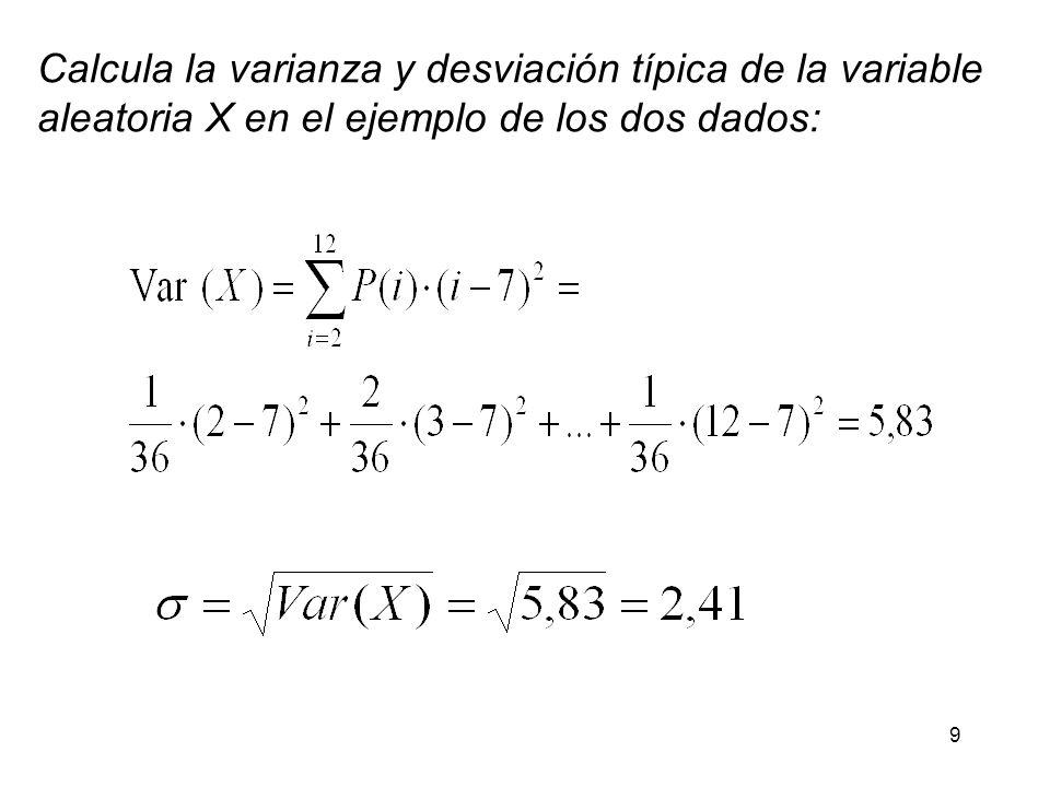 9 Calcula la varianza y desviación típica de la variable aleatoria X en el ejemplo de los dos dados: