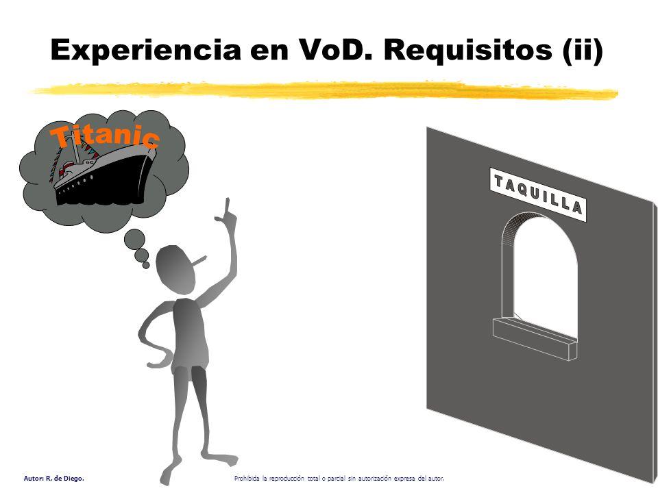 Autor: R. de Diego. Prohibida la reproducción total o parcial sin autorización expresa del autor. Experiencia en VoD. Requisitos (ii)
