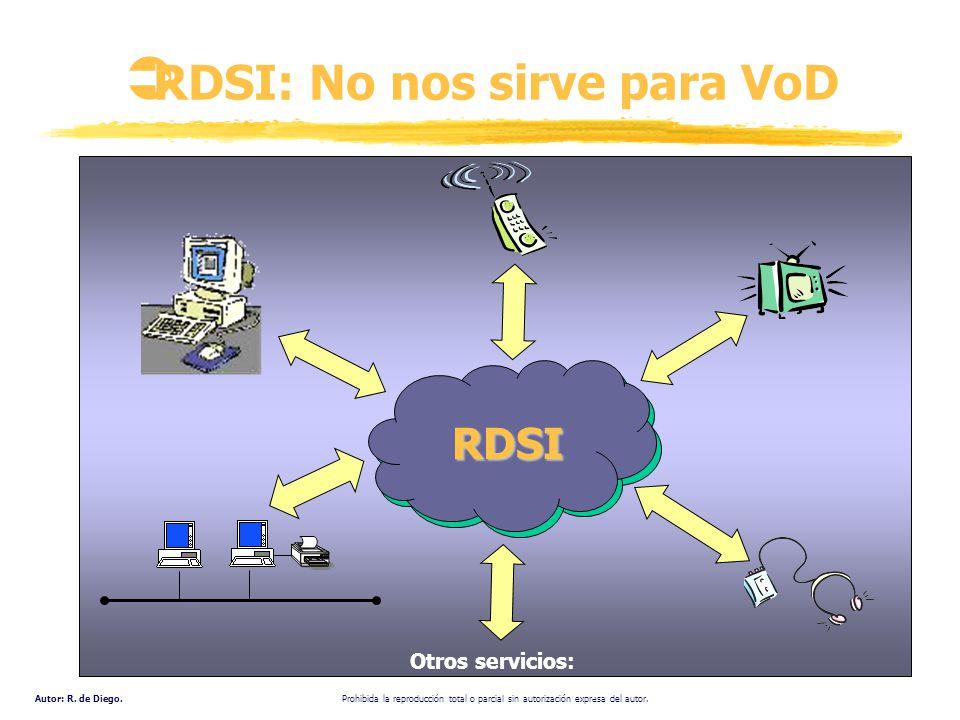 Autor: R. de Diego. Prohibida la reproducción total o parcial sin autorización expresa del autor. RDSI: No nos sirve para VoD Otros servicios: Videoco