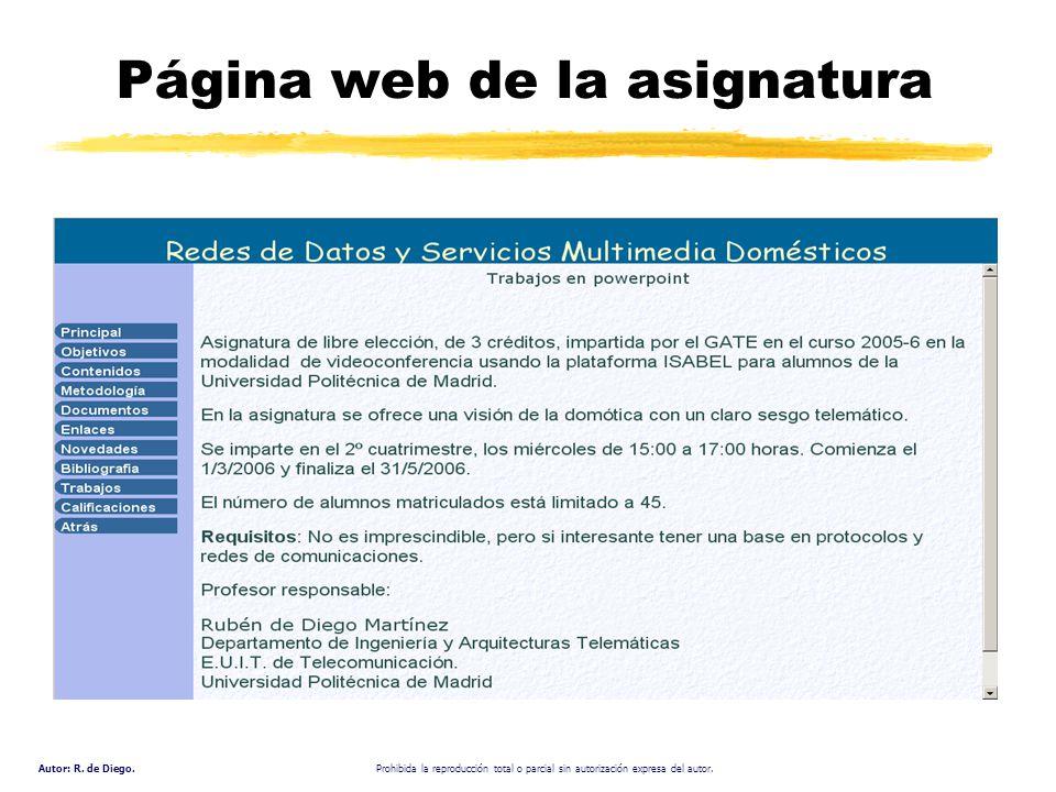 Autor: R. de Diego. Prohibida la reproducción total o parcial sin autorización expresa del autor. Página web de la asignatura