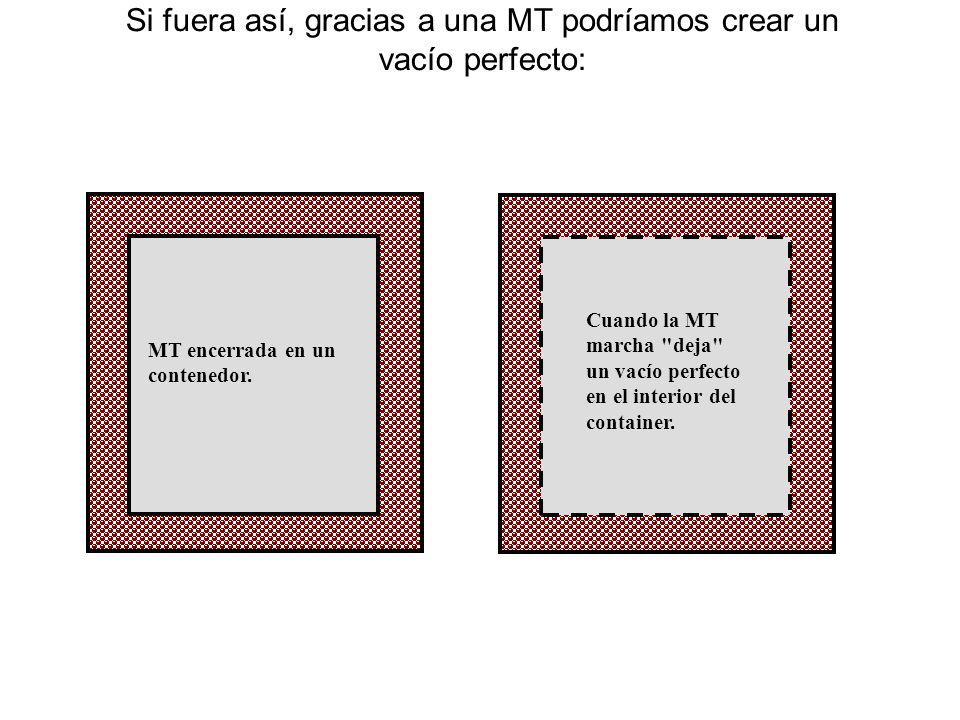 ¿Cuando la MT parte, qué queda en su lugar? Un instante antes de que la MT comience su viaje: La materia que constituye la MT ocupa espacio e impide q
