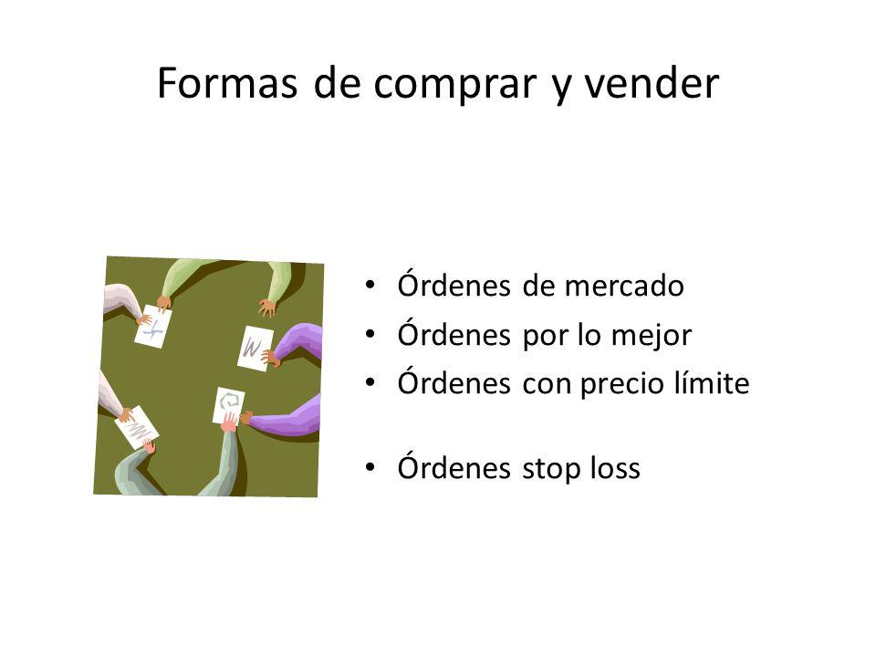 Formas de comprar y vender Órdenes de mercado Órdenes por lo mejor Órdenes con precio límite Órdenes stop loss