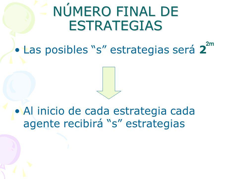 NÚMERO FINAL DE ESTRATEGIAS Las posibles s estrategias será 2 Al inicio de cada estrategia cada agente recibirá s estrategias 2m