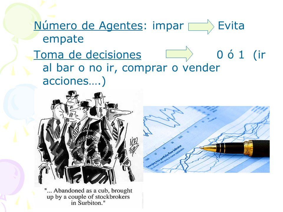 Número de Agentes: imparEvita empate Toma de decisiones 0 ó 1 (ir al bar o no ir, comprar o vender acciones….)
