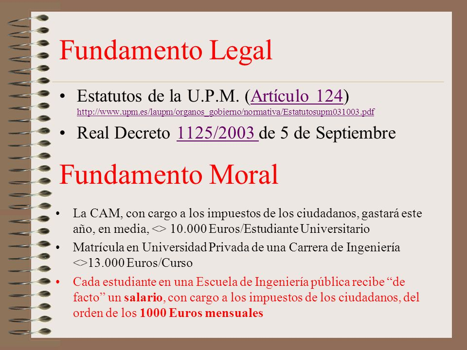Fundamento Legal Estatutos de la U.P.M.
