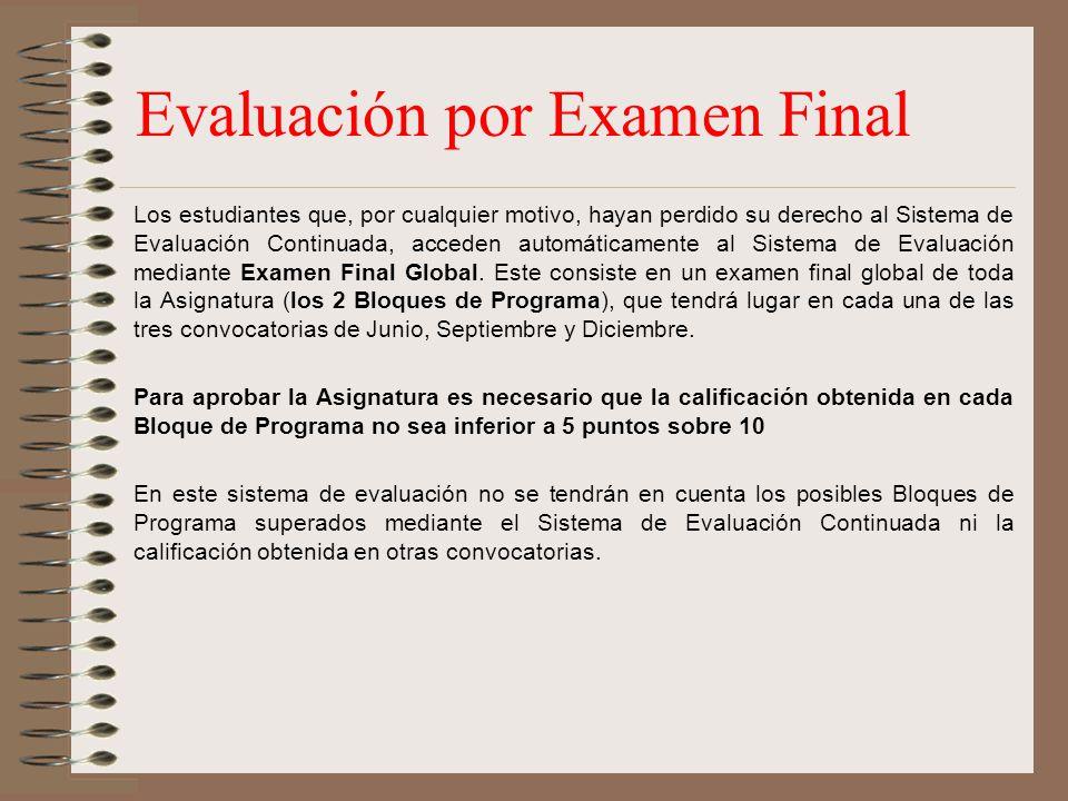 Evaluación por Examen Final Los estudiantes que, por cualquier motivo, hayan perdido su derecho al Sistema de Evaluación Continuada, acceden automátic