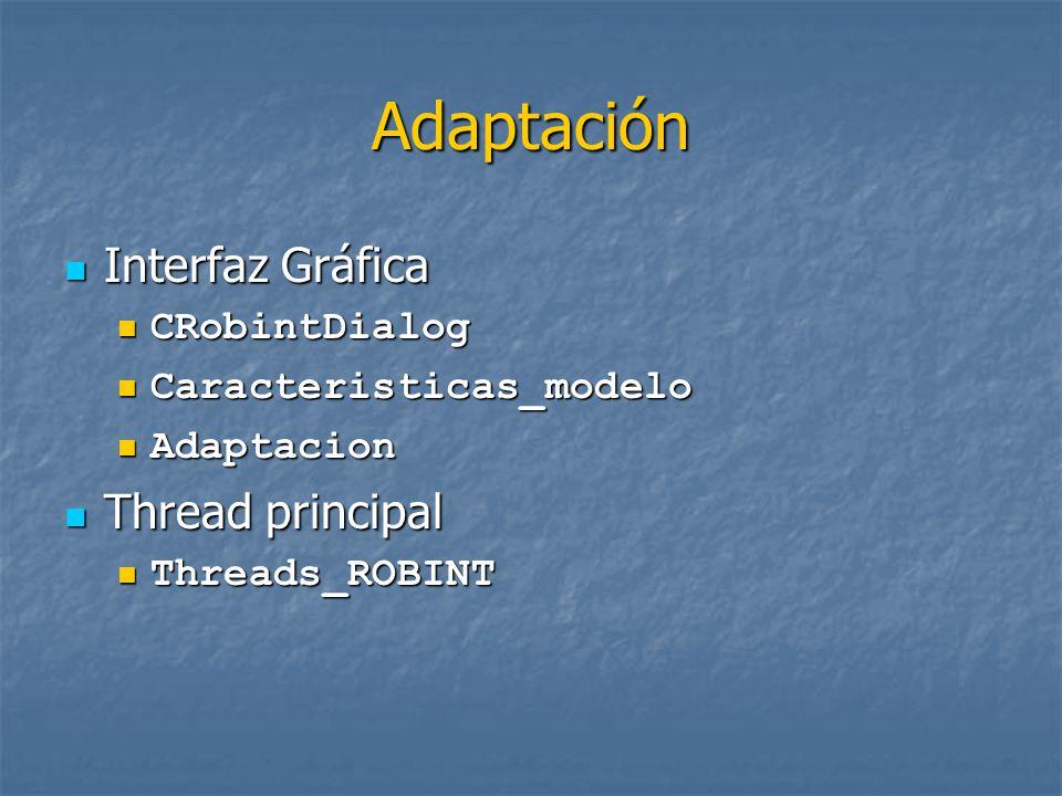 Adaptación Interfaz Gráfica Interfaz Gráfica CRobintDialog CRobintDialog Caracteristicas_modelo Caracteristicas_modelo Adaptacion Adaptacion Thread principal Thread principal Threads_ROBINT Threads_ROBINT