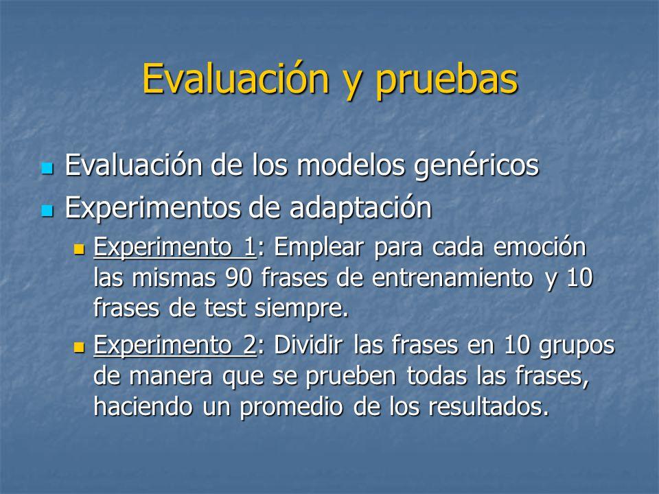 Evaluación y pruebas Evaluación de los modelos genéricos Evaluación de los modelos genéricos Experimentos de adaptación Experimentos de adaptación Experimento 1: Emplear para cada emoción las mismas 90 frases de entrenamiento y 10 frases de test siempre.