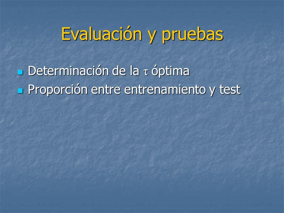 Evaluación y pruebas Determinación de la τ óptima Determinación de la τ óptima Proporción entre entrenamiento y test Proporción entre entrenamiento y test