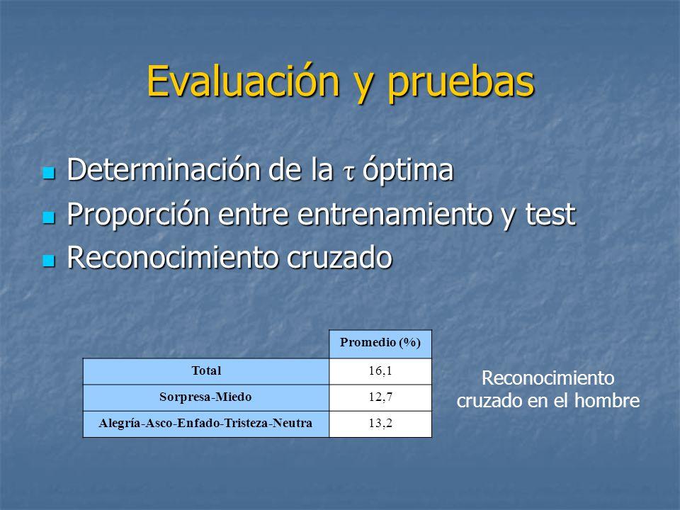 Evaluación y pruebas Determinación de la τ óptima Determinación de la τ óptima Proporción entre entrenamiento y test Proporción entre entrenamiento y test Reconocimiento cruzado Reconocimiento cruzado Promedio (%) Total16,1 Sorpresa-Miedo12,7 Alegría-Asco-Enfado-Tristeza-Neutra13,2 Reconocimiento cruzado en el hombre