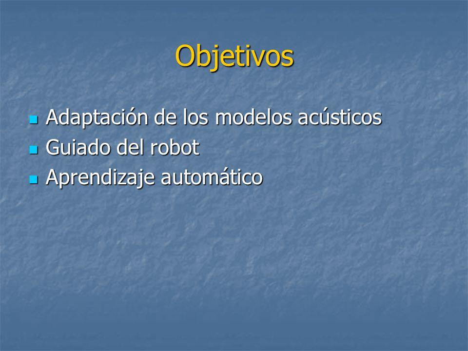 Objetivos Adaptación de los modelos acústicos Adaptación de los modelos acústicos Guiado del robot Guiado del robot Aprendizaje automático Aprendizaje automático