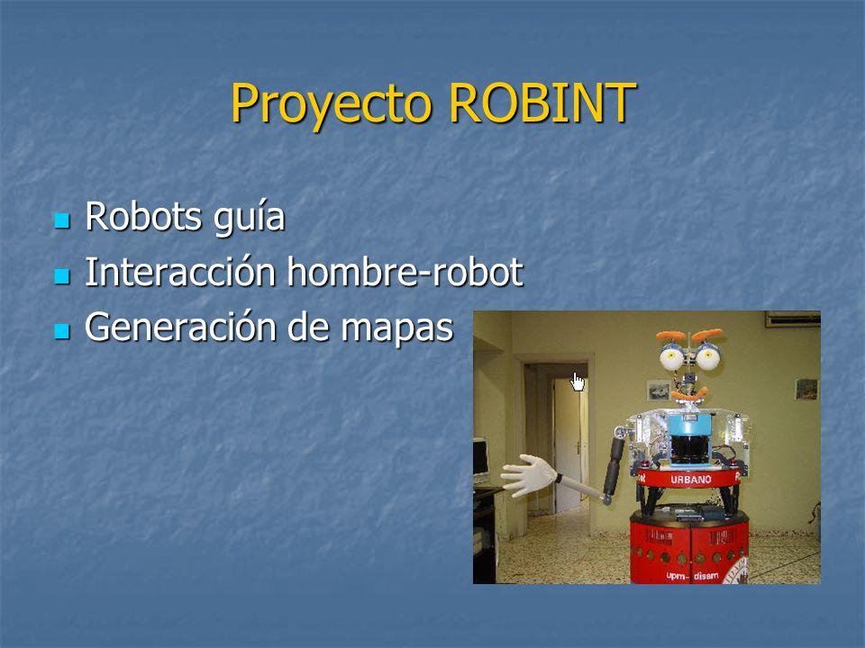 Proyecto ROBINT Robots guía Robots guía Interacción hombre-robot Interacción hombre-robot Generación de mapas Generación de mapas