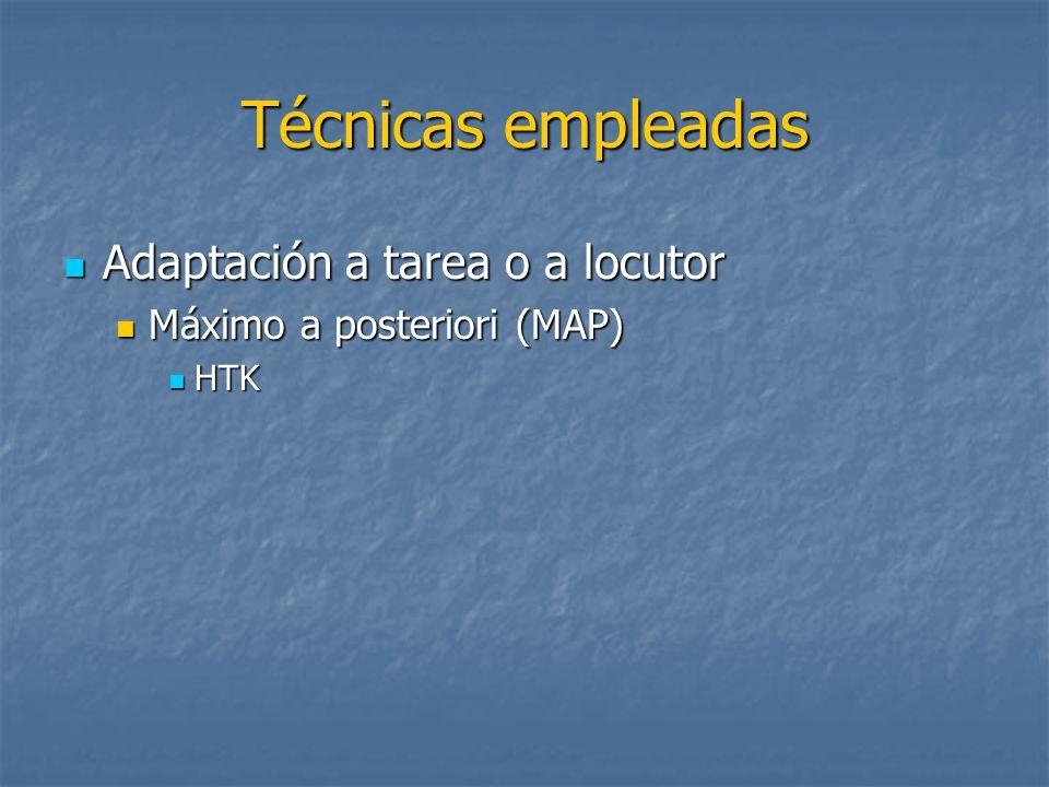 Técnicas empleadas Adaptación a tarea o a locutor Adaptación a tarea o a locutor Máximo a posteriori (MAP) Máximo a posteriori (MAP) HTK HTK