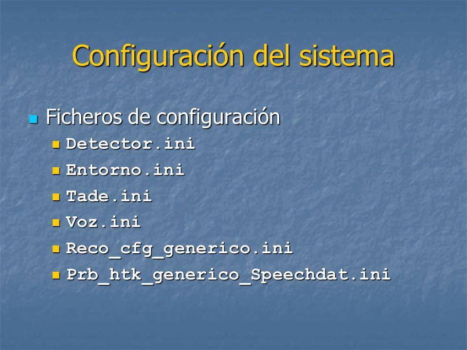 Configuración del sistema Ficheros de configuración Ficheros de configuración Urbano.ini Urbano.ini