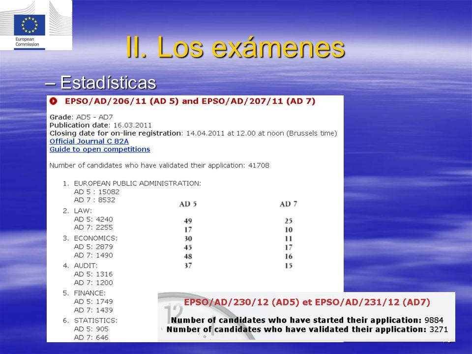 10 II. Los exámenes –Estadísticas