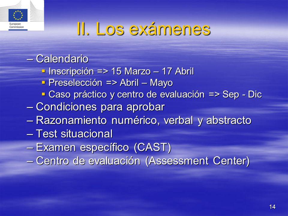 14 II. Los exámenes –Calendario Inscripción => 15 Marzo – 17 Abril Inscripción => 15 Marzo – 17 Abril Preselección => Abril – Mayo Preselección => Abr