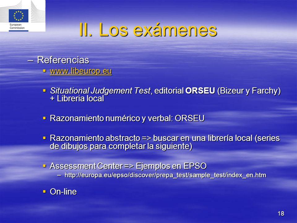 18 II. Los exámenes –Referencias www.libeurop.eu www.libeurop.eu www.libeurop.eu Situational Judgement Test, editorial ORSEU (Bizeur y Farchy) + Libre