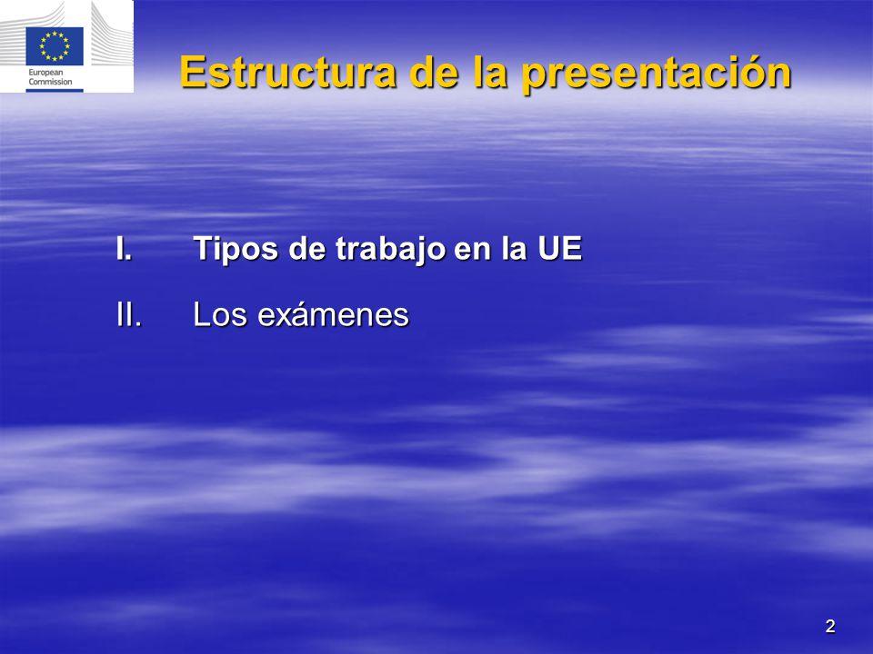 2 I.Tipos de trabajo en la UE II.Los exámenes Estructura de la presentación