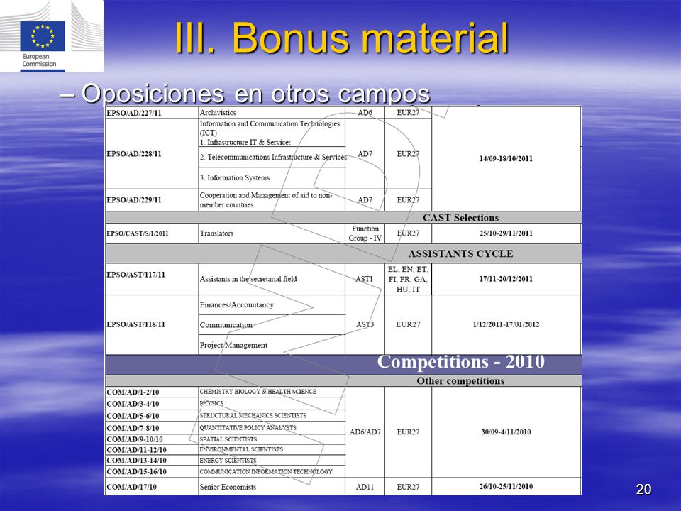 20 –Oposiciones en otros campos III. Bonus material