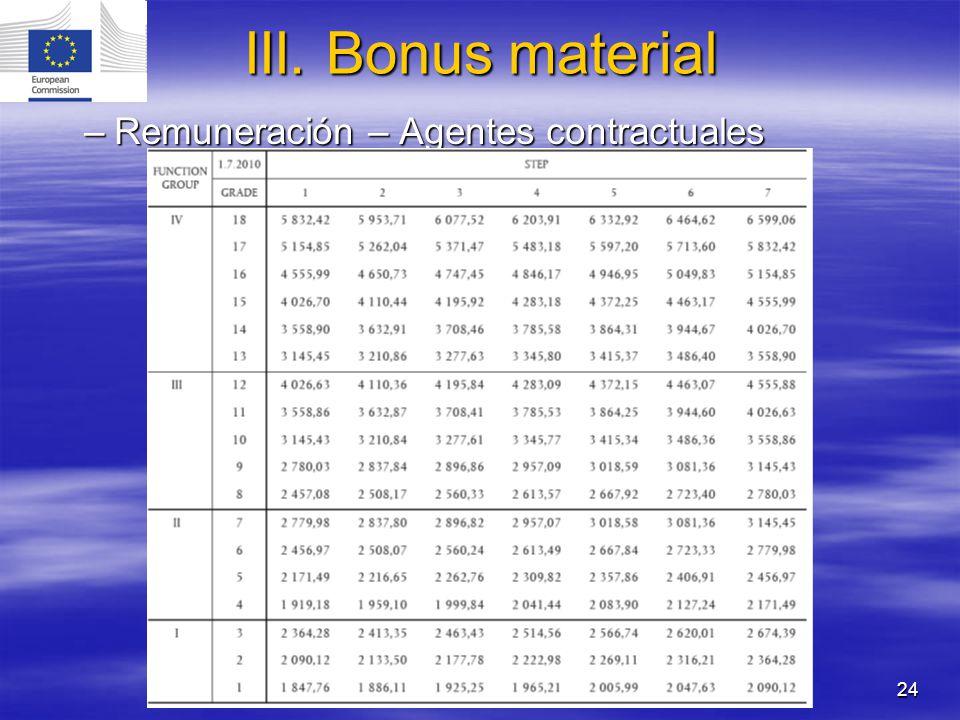 24 –Remuneración – Agentes contractuales III. Bonus material