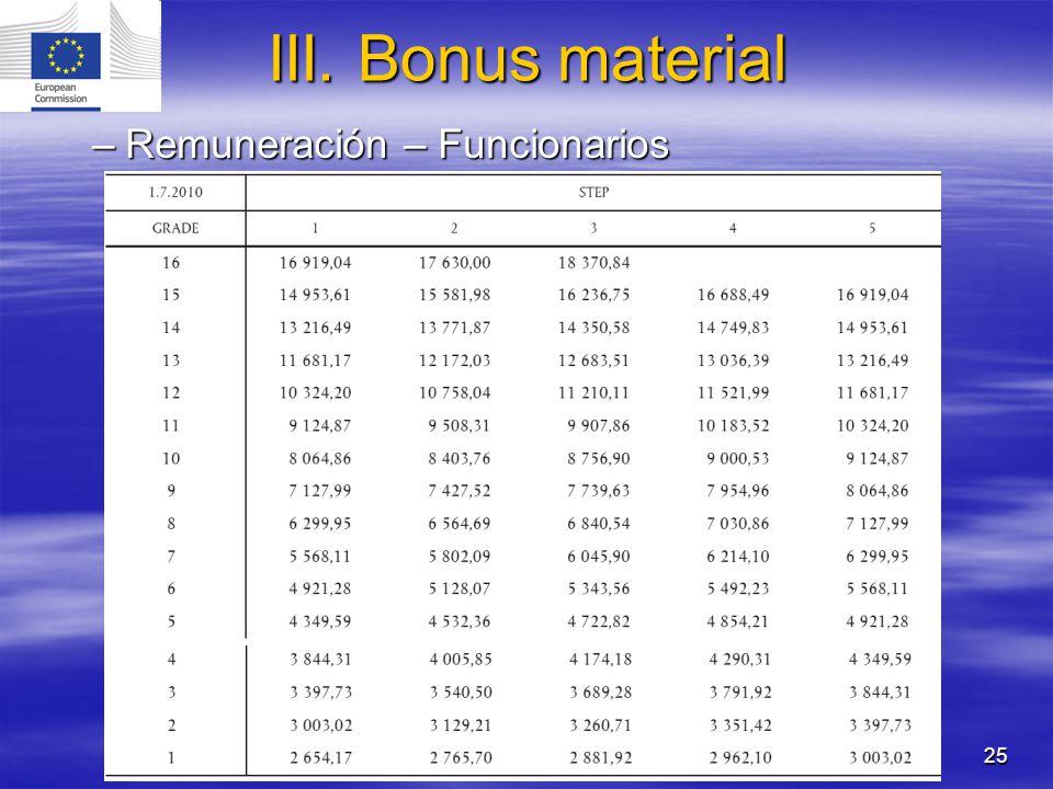 25 –Remuneración – Funcionarios III. Bonus material