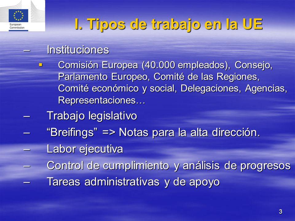3 –Instituciones Comisión Europea (40.000 empleados), Consejo, Parlamento Europeo, Comité de las Regiones, Comité económico y social, Delegaciones, Ag