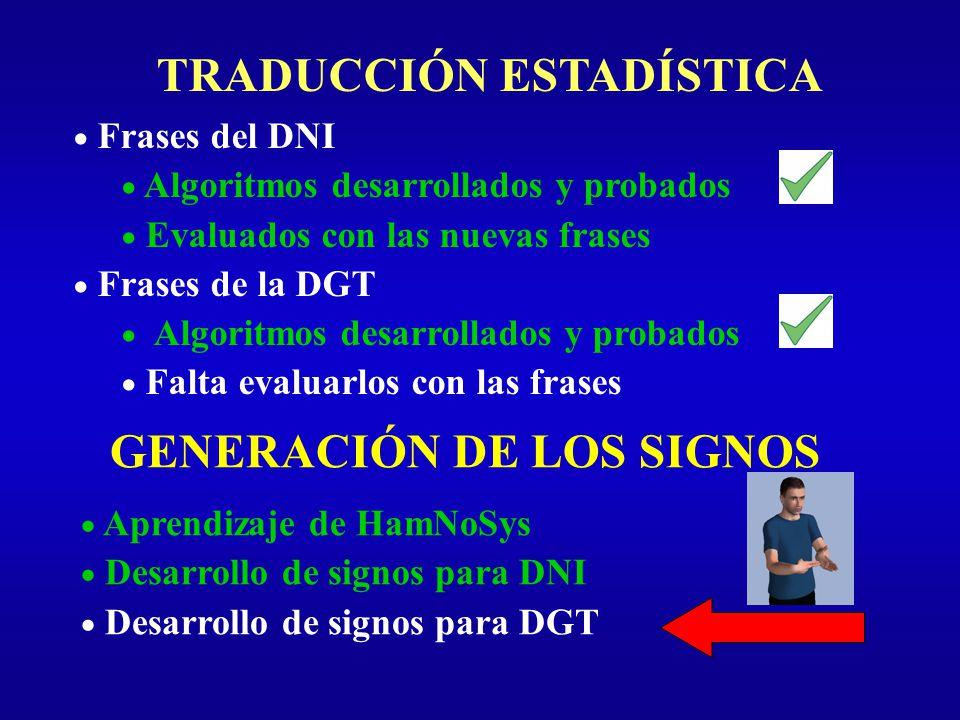 TRADUCCIÓN ESTADÍSTICA Frases del DNI Algoritmos desarrollados y probados Evaluados con las nuevas frases Frases de la DGT Algoritmos desarrollados y