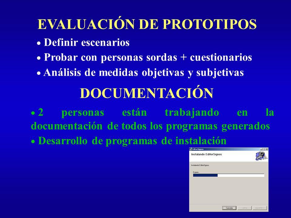 EVALUACIÓN DE PROTOTIPOS Definir escenarios Probar con personas sordas + cuestionarios Análisis de medidas objetivas y subjetivas DOCUMENTACIÓN 2 pers