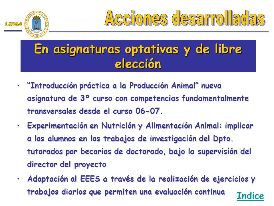 Introducción práctica a la Producción Animal nueva asignatura de 3º curso con competencias fundamentalmente transversales desde el curso 06-07.Introdu