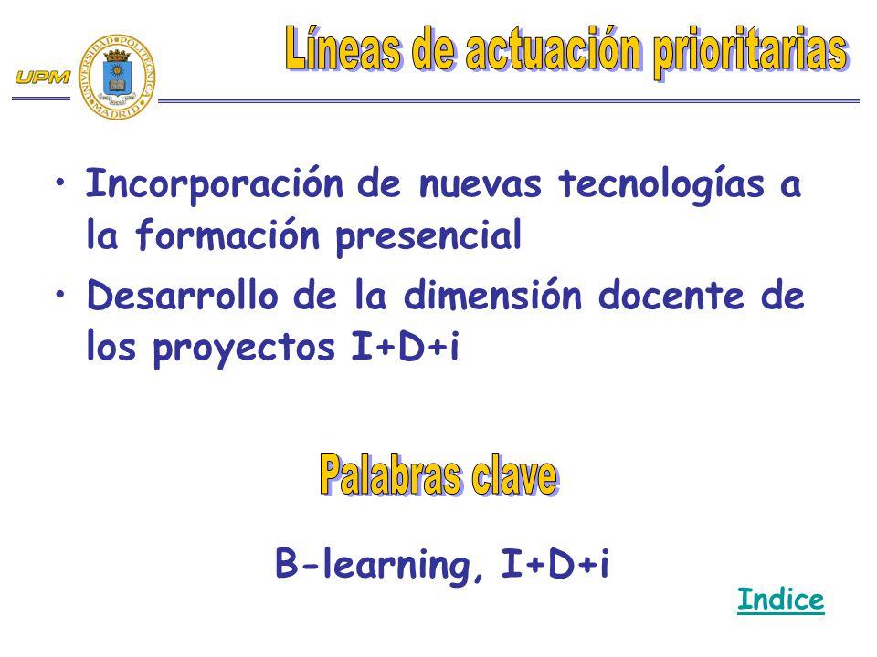 Incorporación de nuevas tecnologías a la formación presencial Desarrollo de la dimensión docente de los proyectos I+D+i B-learning, I+D+i Indice