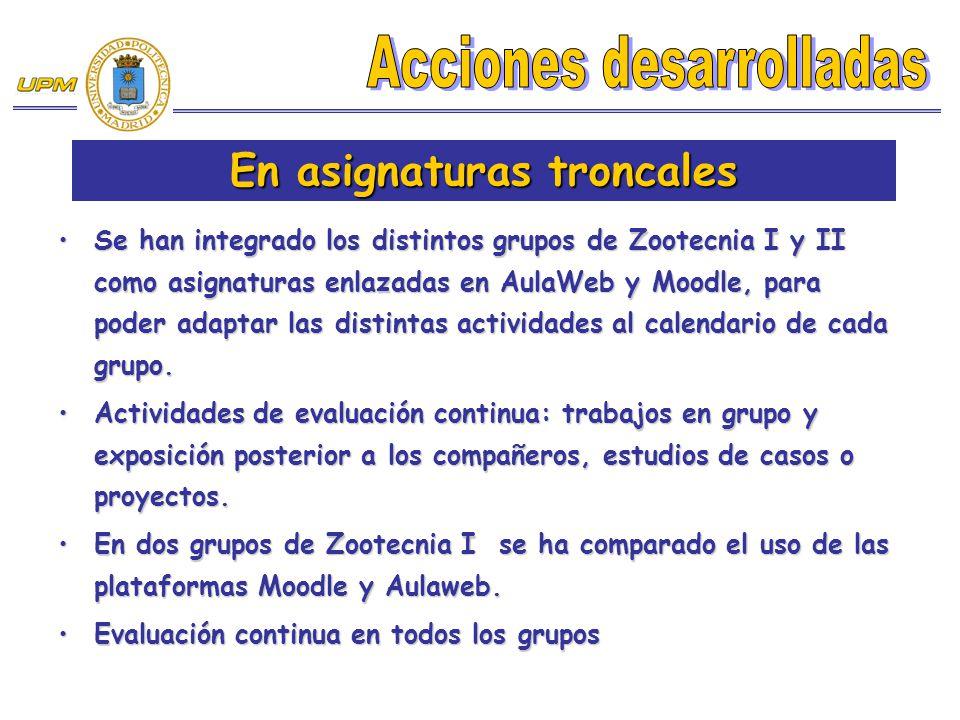Se han integrado los distintos grupos de Zootecnia I y II como asignaturas enlazadas en AulaWeb y Moodle, para poder adaptar las distintas actividades