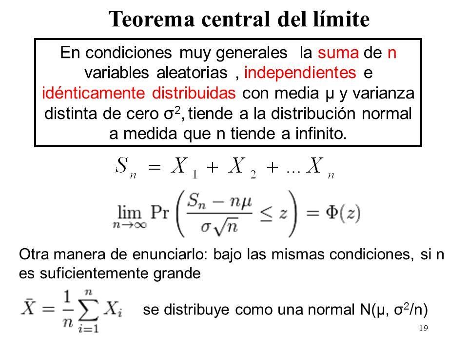 19 Teorema central del límite En condiciones muy generales la suma de n variables aleatorias, independientes e idénticamente distribuidas con media μ y varianza distinta de cero σ 2, tiende a la distribución normal a medida que n tiende a infinito.