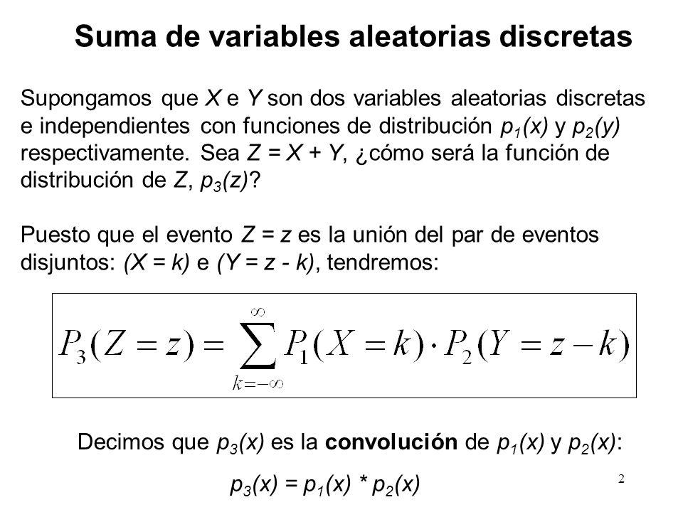2 Suma de variables aleatorias discretas Supongamos que X e Y son dos variables aleatorias discretas e independientes con funciones de distribución p 1 (x) y p 2 (y) respectivamente.