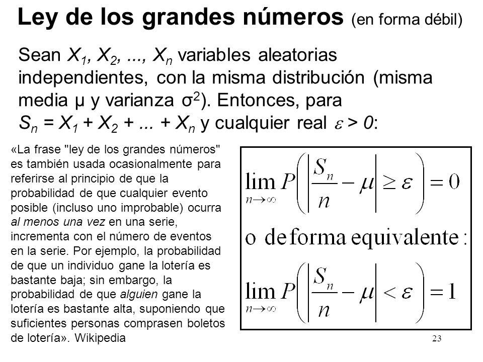 23 Ley de los grandes números (en forma débil) Sean X 1, X 2,..., X n variables aleatorias independientes, con la misma distribución (misma media μ y varianza σ 2 ).