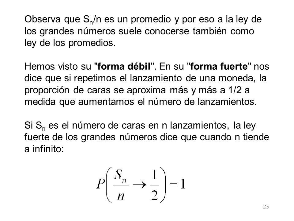 25 Observa que S n /n es un promedio y por eso a la ley de los grandes números suele conocerse también como ley de los promedios.