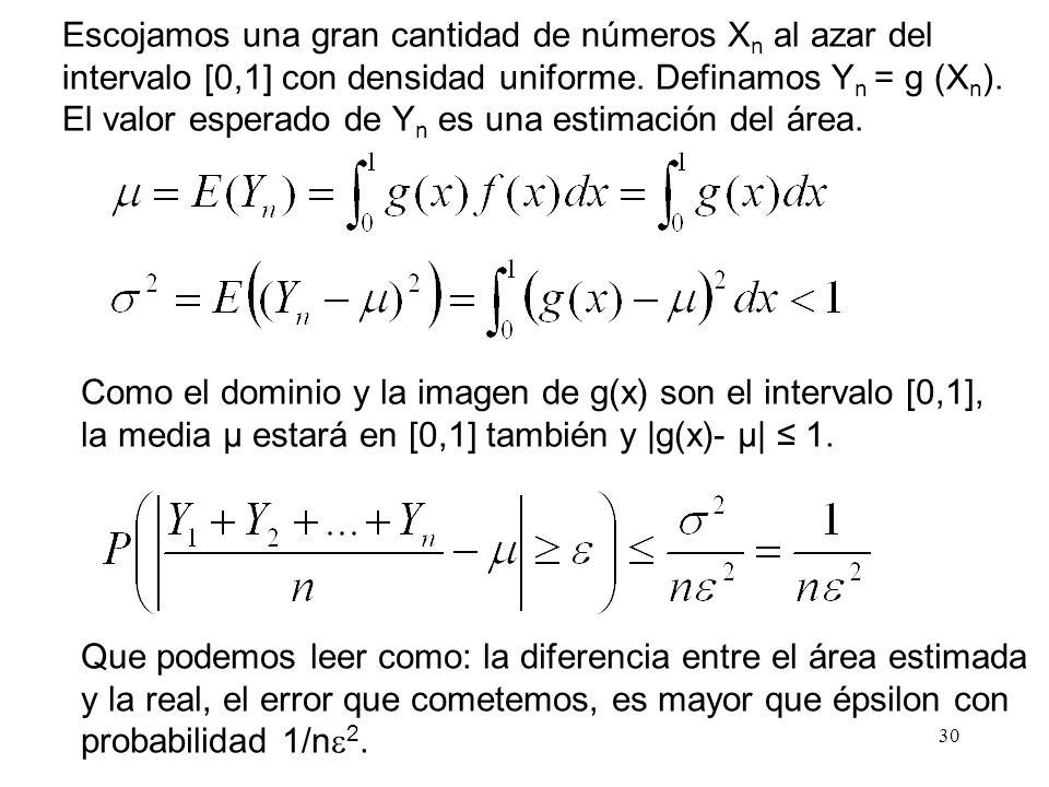 30 Escojamos una gran cantidad de números X n al azar del intervalo [0,1] con densidad uniforme.