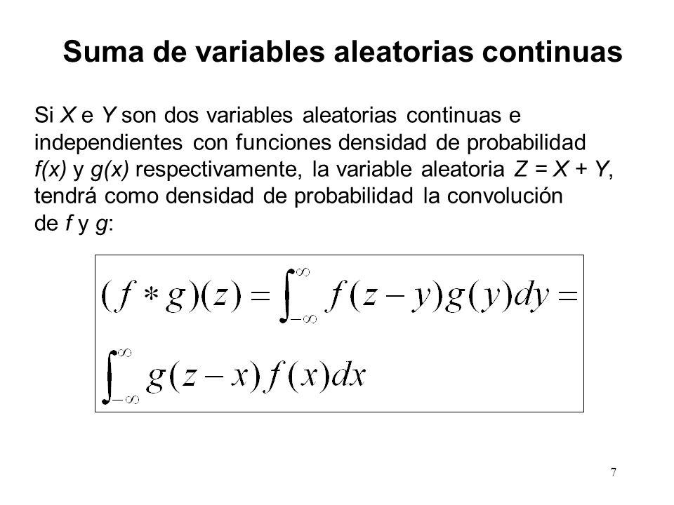 7 Suma de variables aleatorias continuas Si X e Y son dos variables aleatorias continuas e independientes con funciones densidad de probabilidad f(x) y g(x) respectivamente, la variable aleatoria Z = X + Y, tendrá como densidad de probabilidad la convolución de f y g: