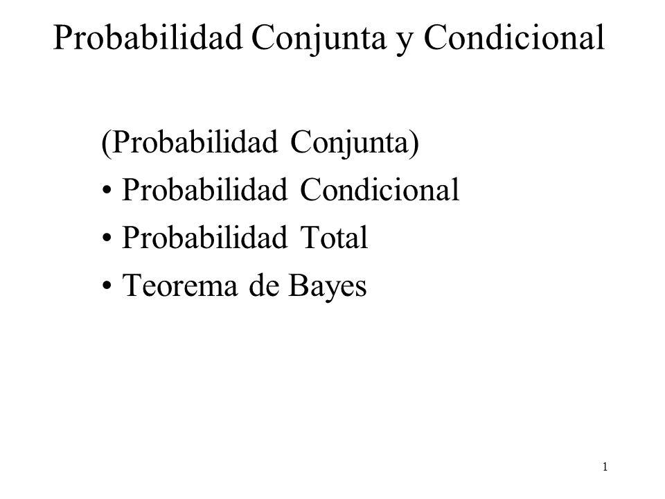 1 Probabilidad Conjunta y Condicional (Probabilidad Conjunta) Probabilidad Condicional Probabilidad Total Teorema de Bayes