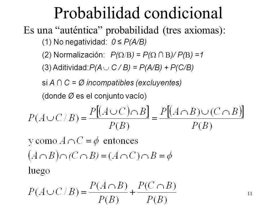 10 Probabilidad condicional Espacio probabilístico A,B F P(B) 0 Probabilidad de un suceso A sabiendo que se ha producido un suceso B: