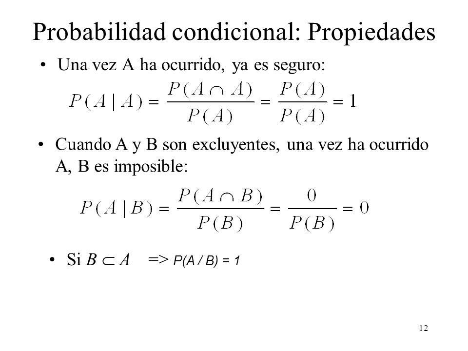 11 Probabilidad condicional Es una auténtica probabilidad (tres axiomas): (1) No negatividad: 0 P(A/B) (2) Normalización: P( ) = P( )/ P( ) =1 (3) Aditividad:P(A C / B) = P(A/B) + P(C/B) si A C = Ø incompatibles (excluyentes) (donde Ø es el conjunto vacío)