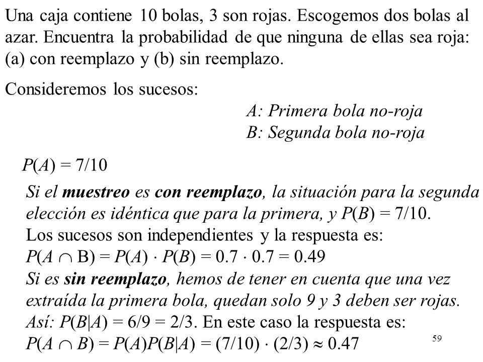 58 Independencia de m sucesos Similarmente, m sucesos A 1...., A m se llaman independientes si: P(A 1... A m ) = P(A 1 )... · P(A m ) y además para ca