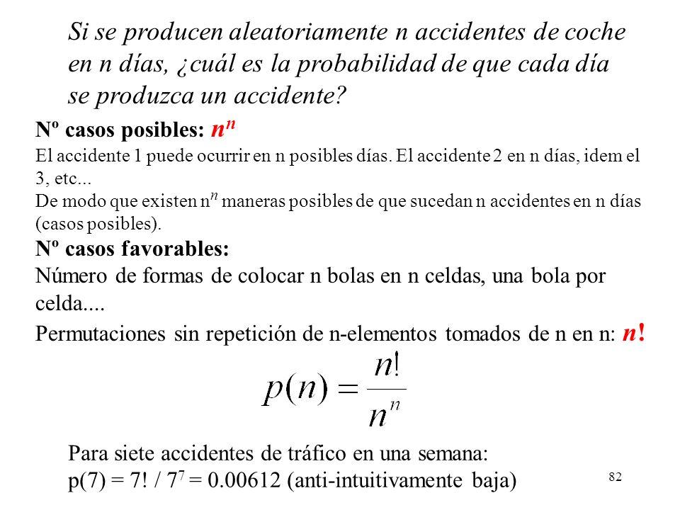 81 Si se producen aleatoriamente n accidentes de coche en n días, ¿cuál es la probabilidad de que cada día se produzca un accidente? (Sucesos equiprob