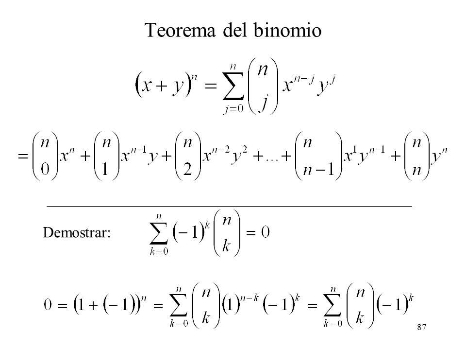 86 Algunas Propiedades El binomio de Newton (a + b) 2 = (a + b) (a + b). Todos los posibles productos son: aa, ab, ba, bb. (a + b) 2 = a 2 + 2ab + b 2
