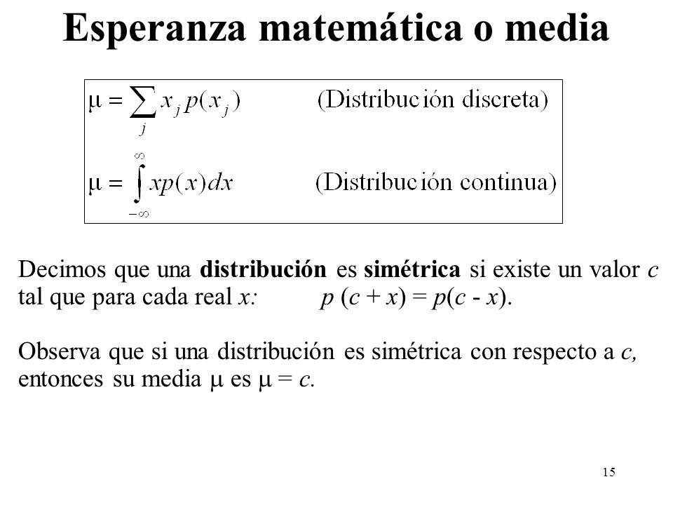 15 Esperanza matemática o media Decimos que una distribución es simétrica si existe un valor c tal que para cada real x: p (c + x) = p(c - x). Observa