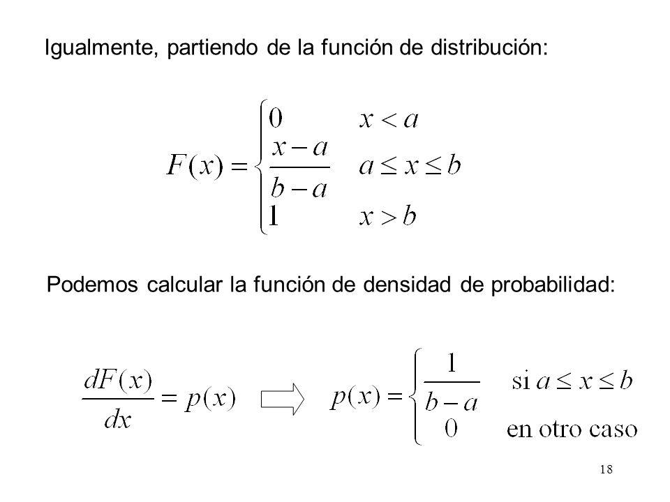 18 Igualmente, partiendo de la función de distribución: Podemos calcular la función de densidad de probabilidad: