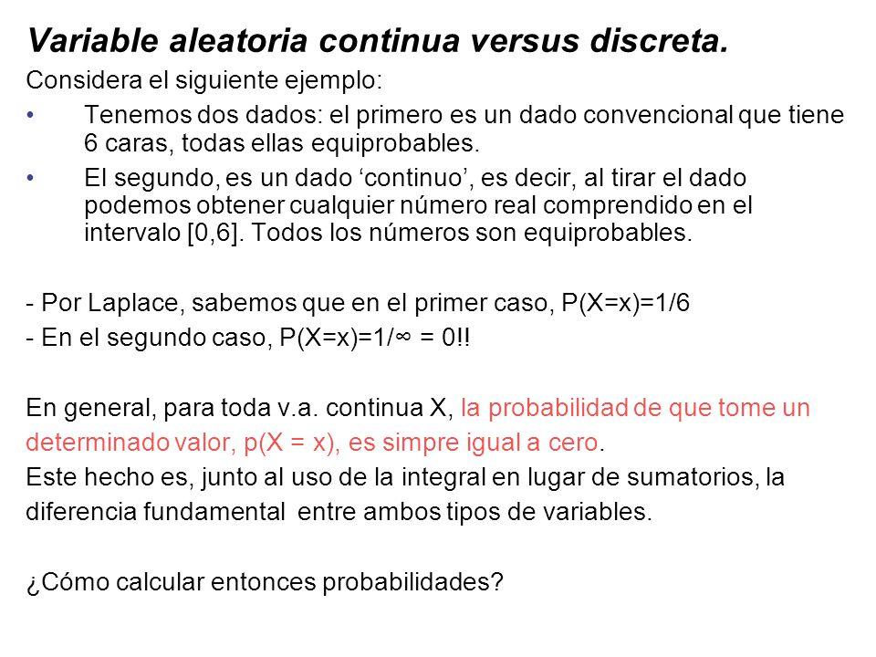 Función de densidad de probabilidad f(x) X a b La probabilidad de que X esté entre a y b se puede calcular como el área que queda de- bajo de la curva f(x) El área delimitada por la curva f(x) en el intervalor [a,b] se calcula como la integral de la función en dicho intervalo.