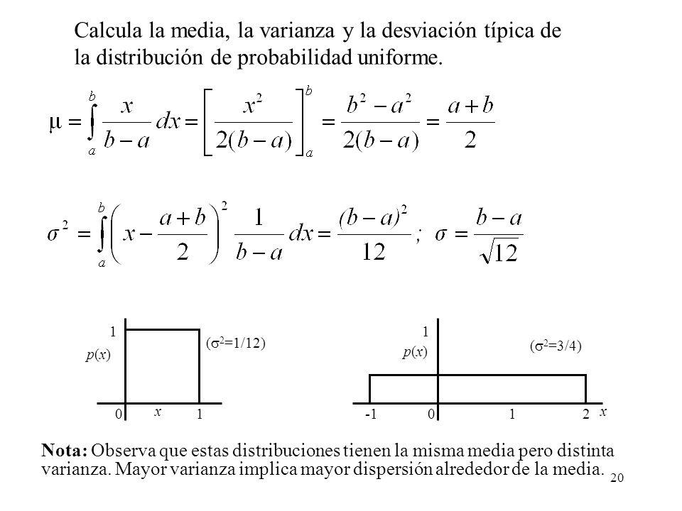 20 01 1 p(x)p(x) x ( 2 =1/12) 01 1 p(x)p(x) x ( 2 =3/4) 2 Nota: Observa que estas distribuciones tienen la misma media pero distinta varianza. Mayor v