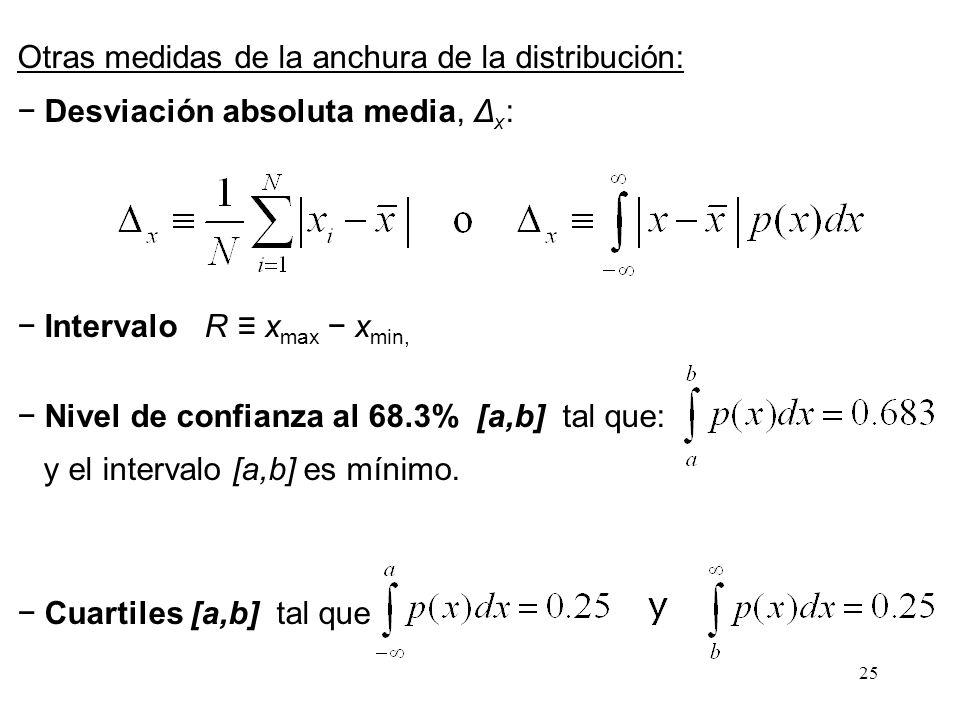25 Otras medidas de la anchura de la distribución: Desviación absoluta media, Δ x : Intervalo R x max x min, Nivel de confianza al 68.3% [a,b] tal que
