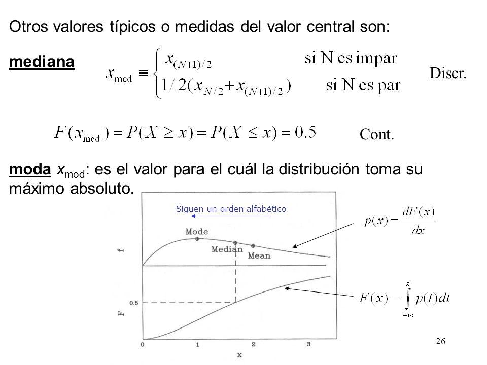 26 Otros valores típicos o medidas del valor central son: mediana moda x mod : es el valor para el cuál la distribución toma su máximo absoluto. Sigue
